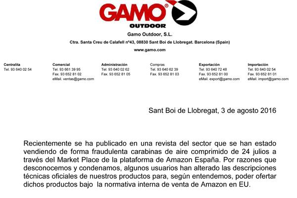 Nota de prensa Gamo