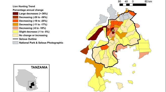 Cambios anuales en las cuotas de caza de leones entre 1996 y 2008. Leader-Williams et al.
