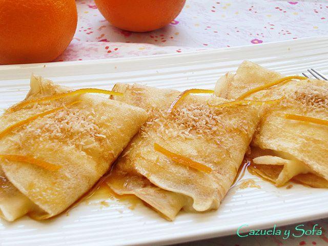 Creps con crema de coco y caramelo de naranja