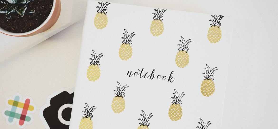 Notebook with pineapples on white background
