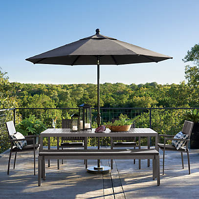 alfresco rectangular dining table arm chair and bench crate and barrel