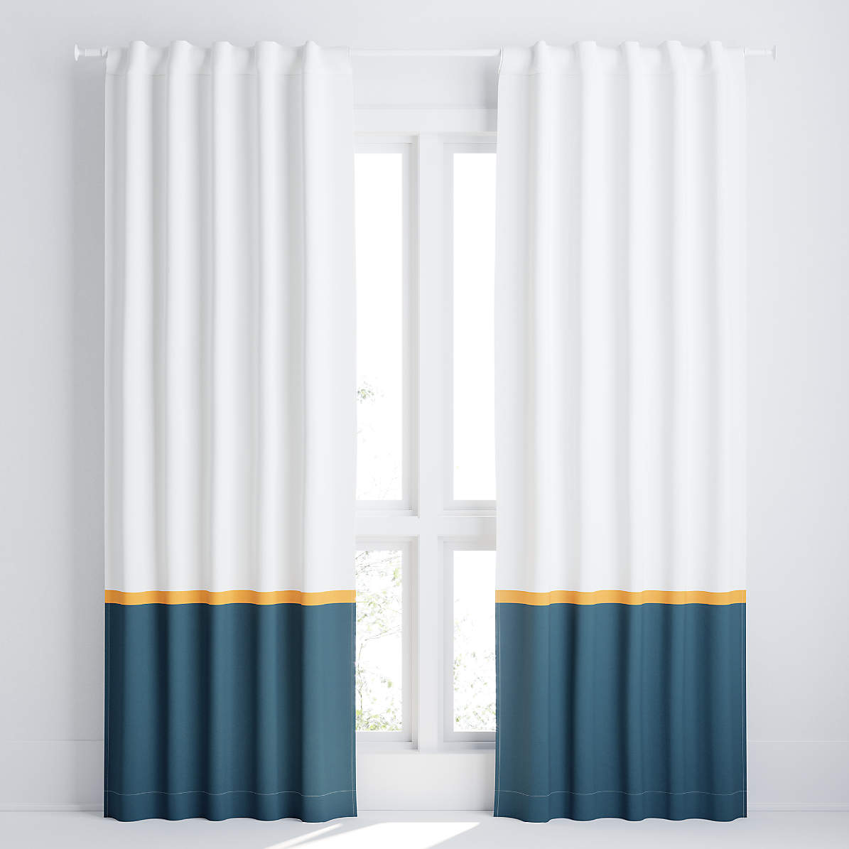 white and navy color block blackout curtain panel crate and barrel
