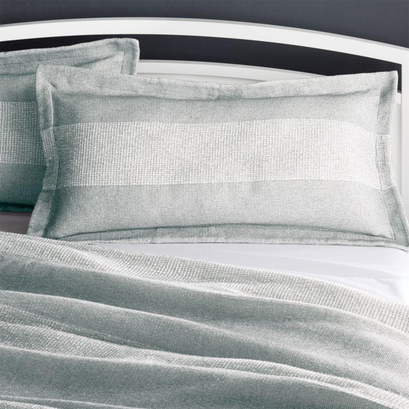kiyomi grey striped king pillow sham reviews crate and barrel