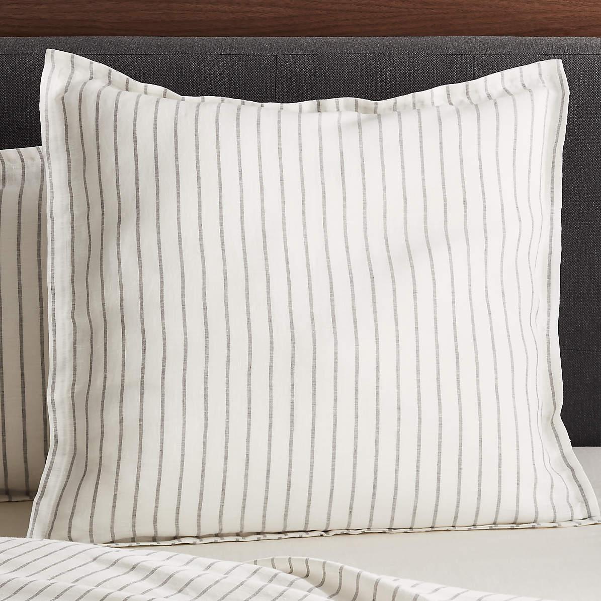 pure linen wide stripe warm white euro pillow sham
