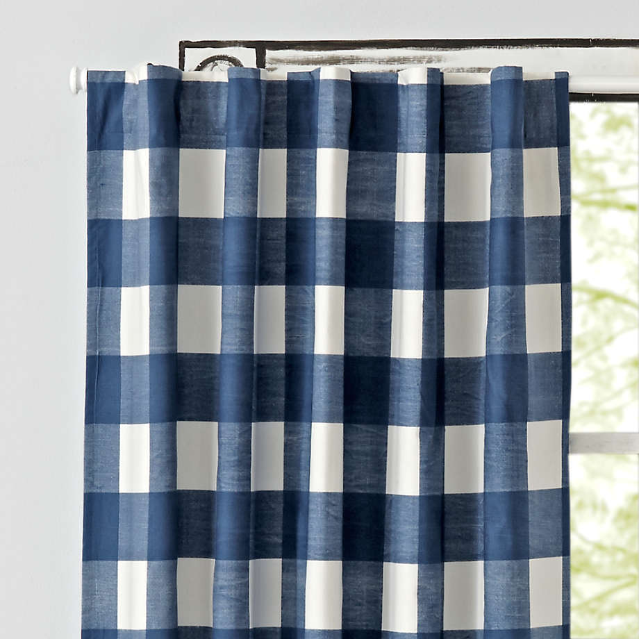 blue buffalo check curtains crate and