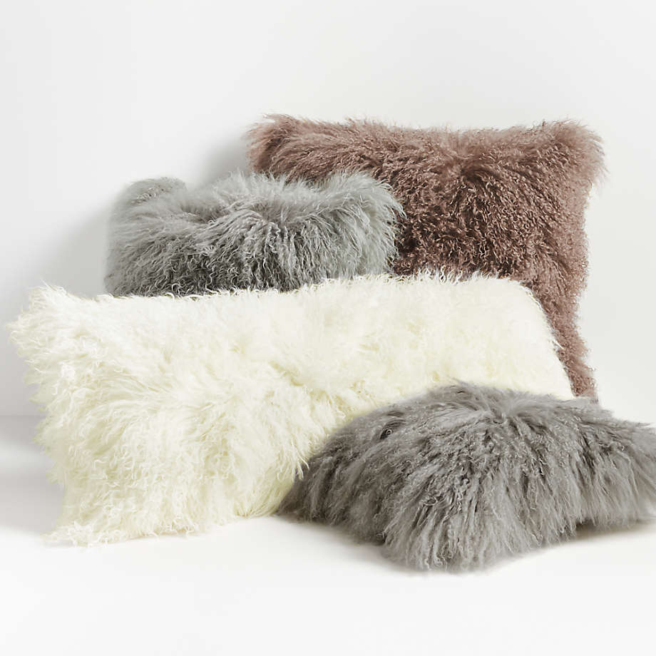 white mongolian lamb pillow crate and