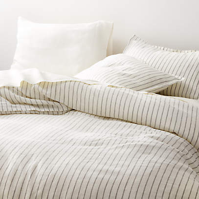pure linen wide stripe warm white duvet covers and pillow shams