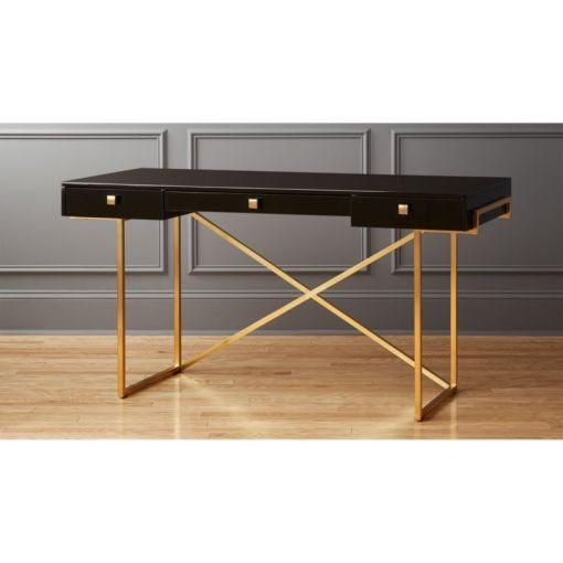 Avalon Black High Gloss Desk   Reviews   CB2