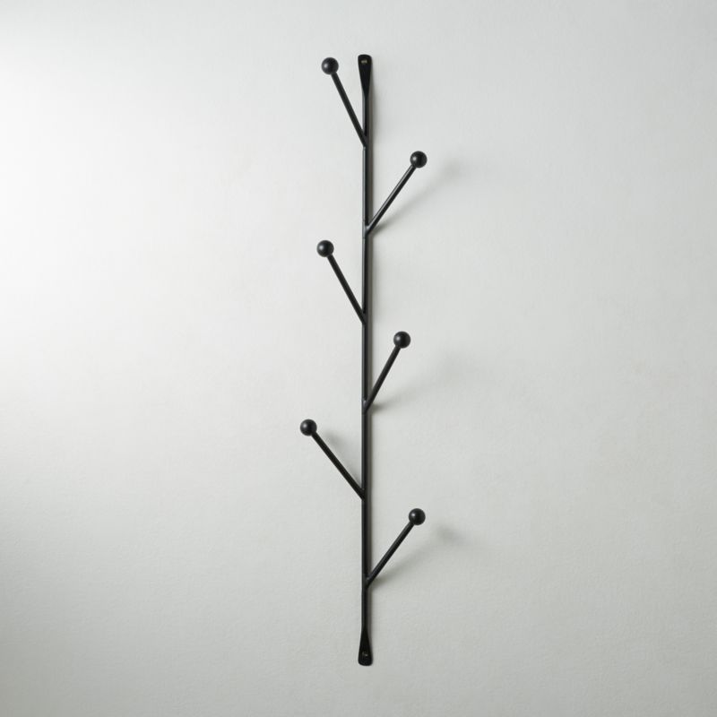 barker matte black vertical wall mounted coat rack reviews cb2
