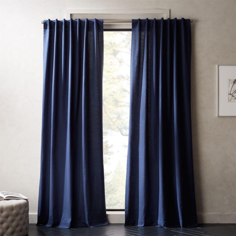 navy blue basketweave ii curtain panel cb2