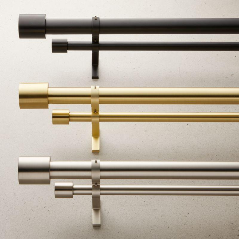 cap finial double rod curtain rod set cb2