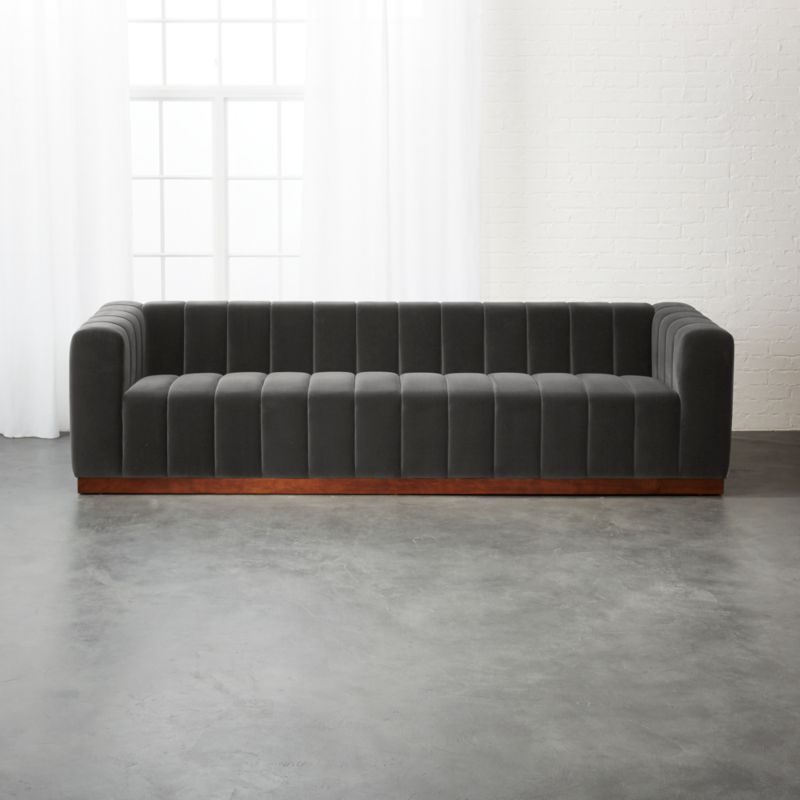 forte channeled charcoal velvet extra large sofa