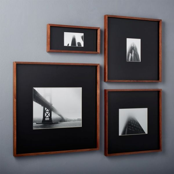 gallery walnut picture frames with black mats | CB2