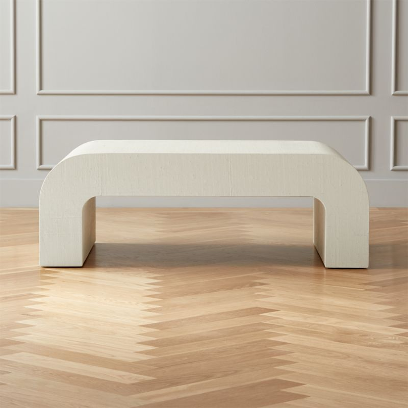 horseshoe ivory lacquered linen coffee table reviews cb2