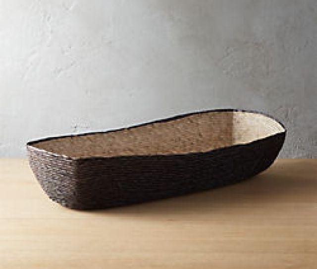 Lorena Long Oval Black Bread Basket