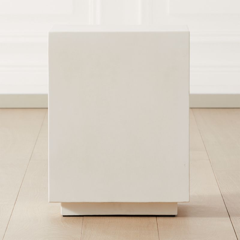 matter ivory cement square side table reviews cb2