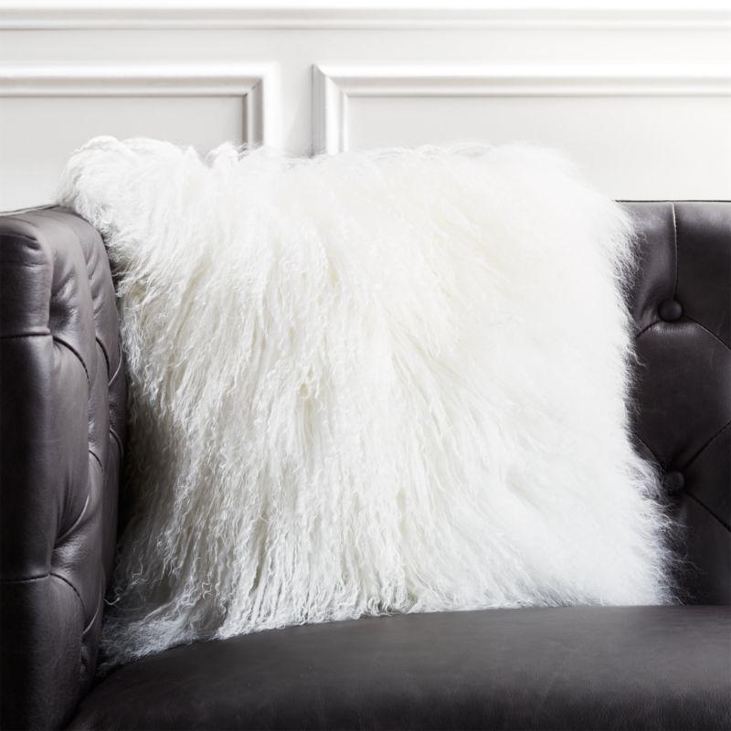 16 mongolian sheepskin white pillow cb2