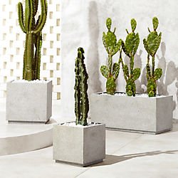 Modern Planters and Garden Pots   CB2 Playa Grey Planters