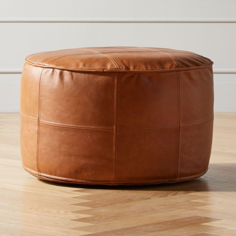 round saddle leather pouf medium reviews cb2
