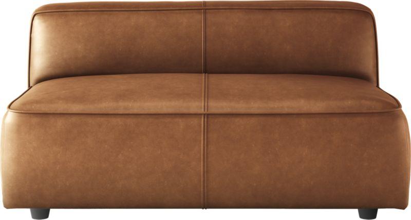 lenyx leather armless loveseat cb2