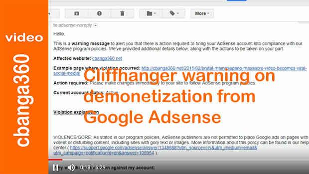 Watch: Cliffhanger warning on demonetization from Google Adsense