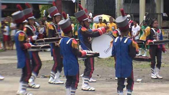 Drum and Xylophone band and majorettes