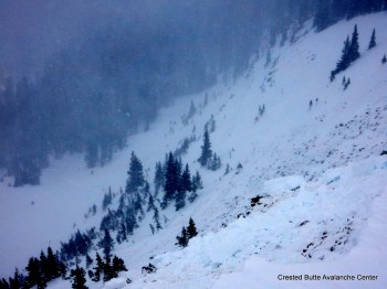 Remotely triggered cornice fall/ persistent slab avalanche.  NE aspect of Coon Basin.