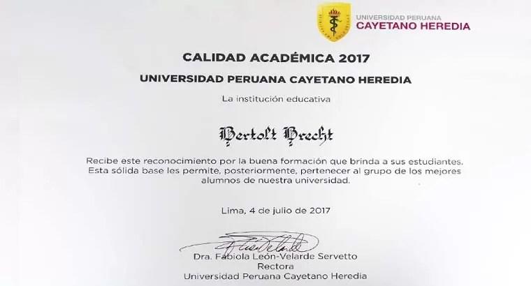 Diploma a la calidad académica 2017 otorgada al CBB por la UPCH