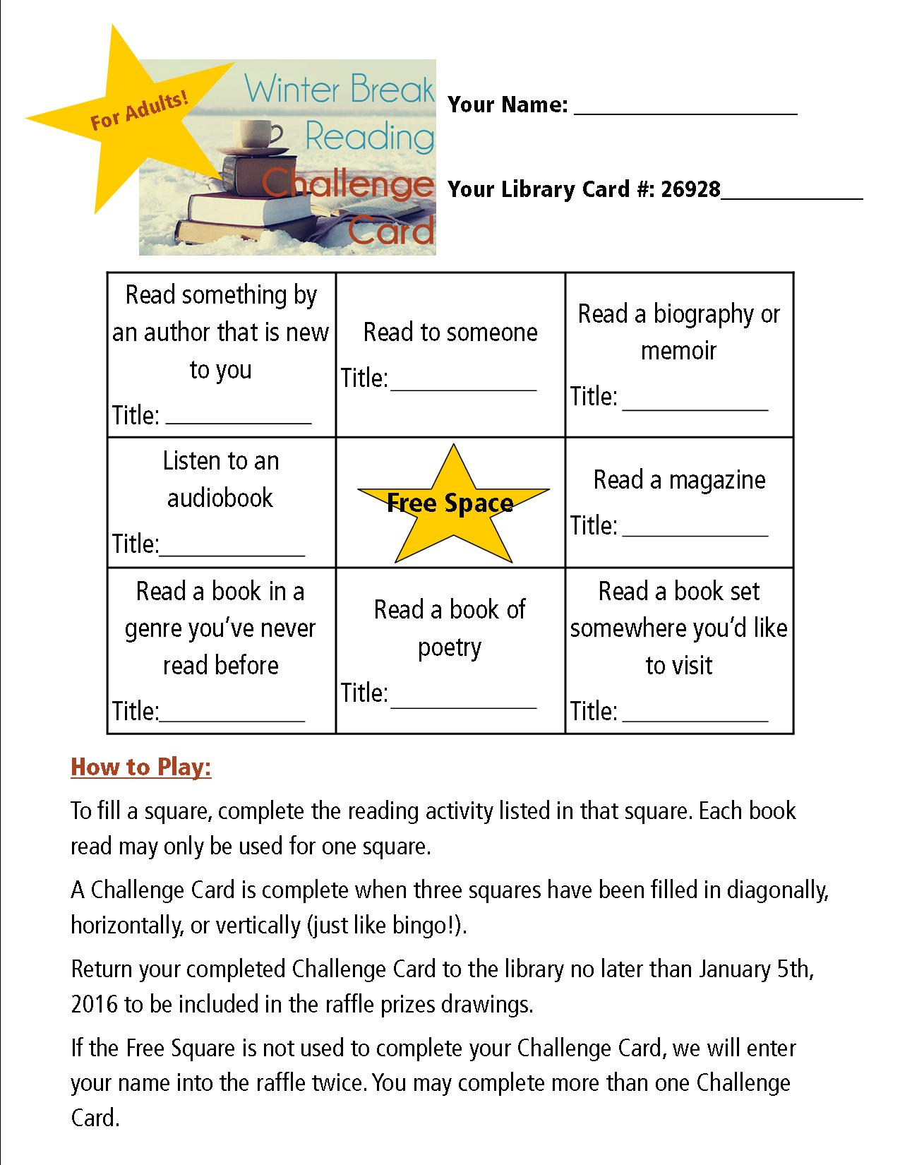Winter Break Reading Challenge Card For Adults Corvallis