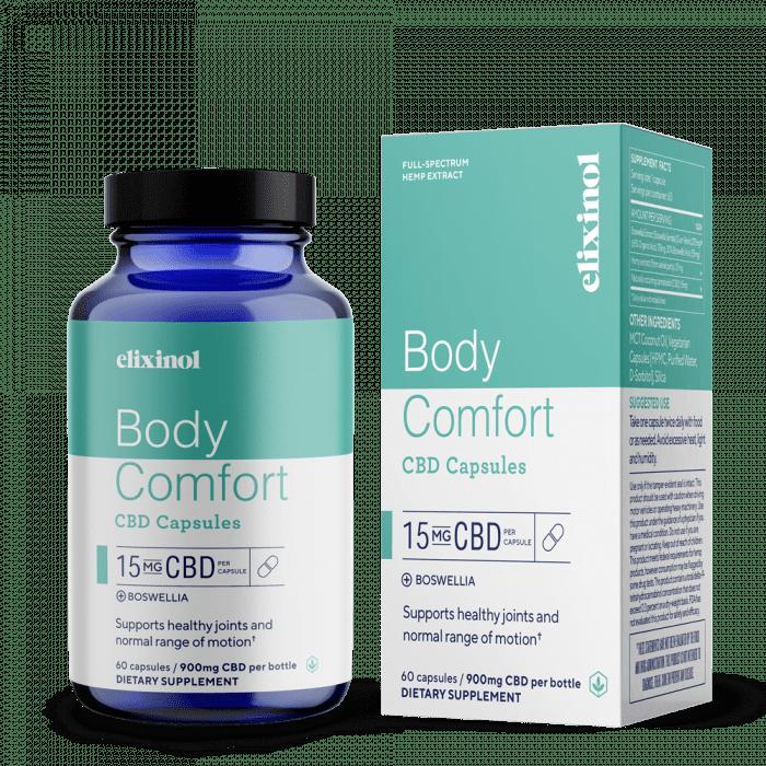 cbd oil capsules, hemp oil capsules, cbd capsules for comfort, body comfort cbd capsules, boswellia capsules, bosswelia cbd capsules, Elixinol