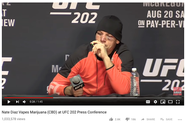 Nate Diaz smoking cbd oil at a UFC post fight news conference