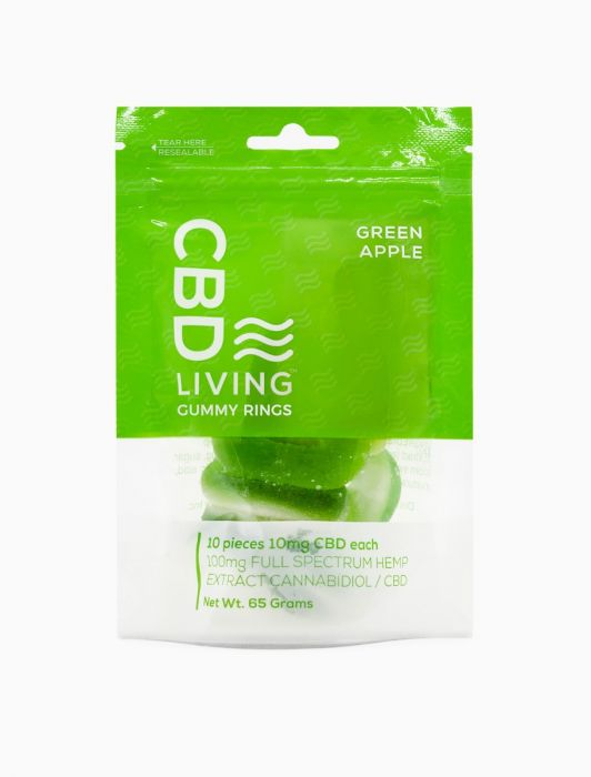 CBD Living Gummy Rings Green Apple 100mg