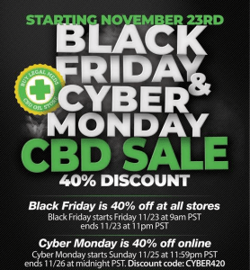 Cyber Monday CBD Deals: 40% discount on all CBD products