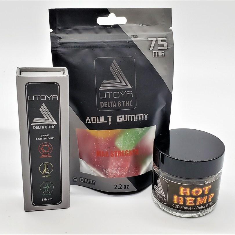 Try Delta 8 Bundle: 1 gram Vape, MAX Strength 75 mg Candy and 1/8 Hot Hemp