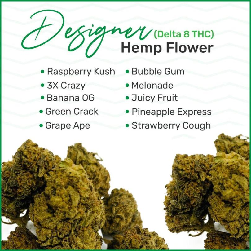 High-CBG Designer Hemp Flower (Delta 8 Enriched) – $99.99/oz