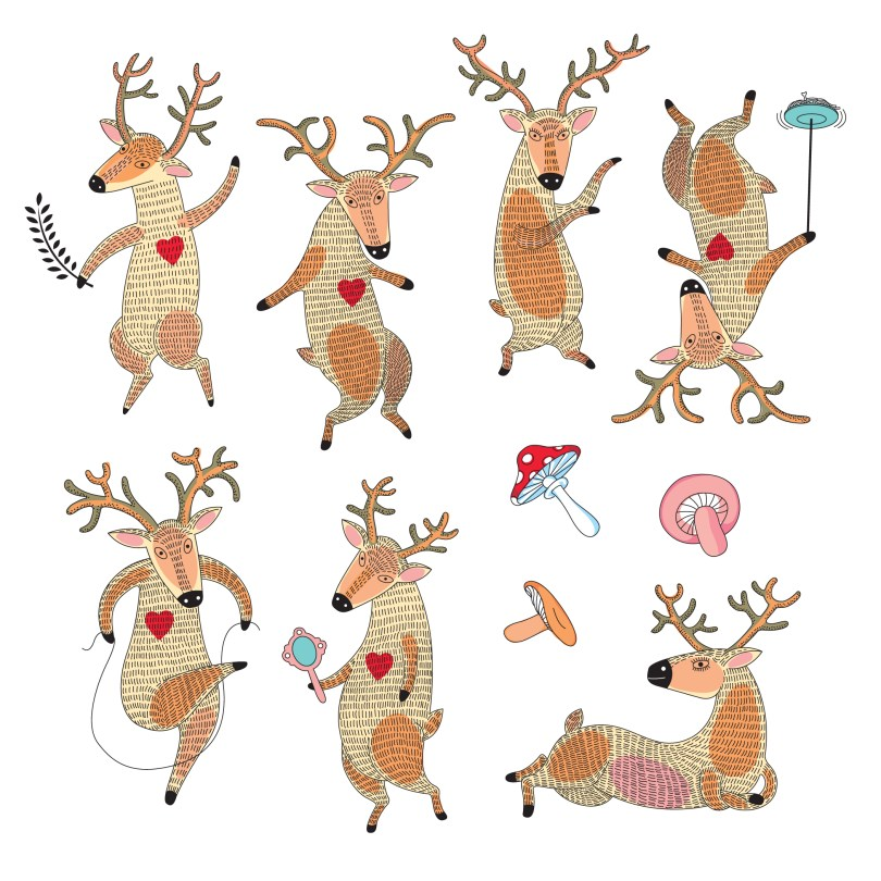 reindeer and mushrooms