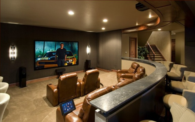 Basement Modern Home Movie Theater