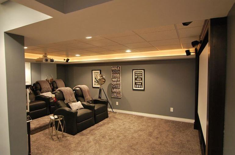 home theater in a basement