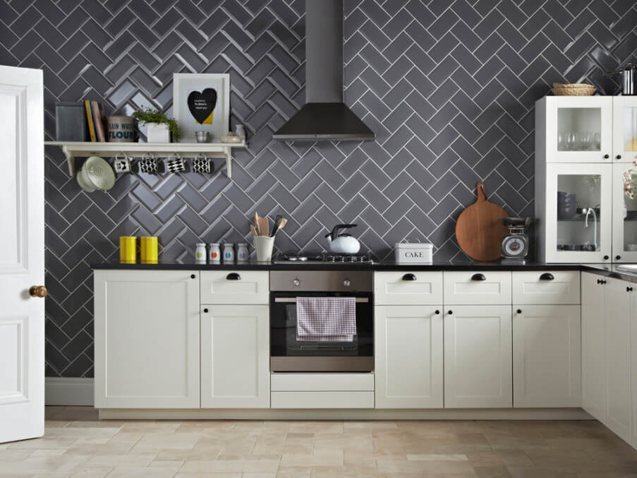 Herringbone Tile Kitchen Splashback Ideas. Kitchen Splashback Design Ideas