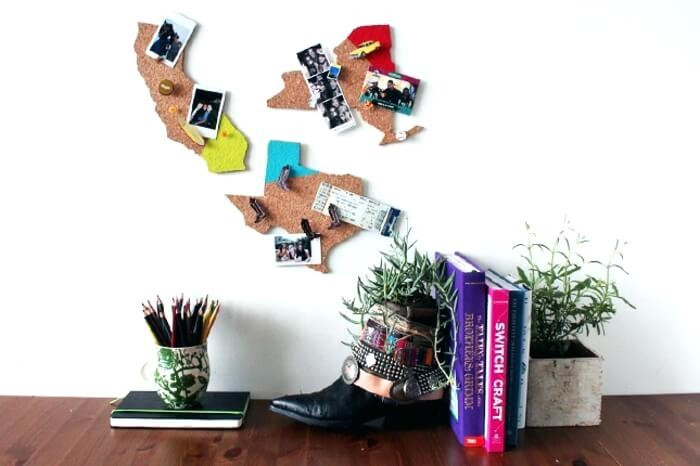 Cork Board Ideas with Map Shape