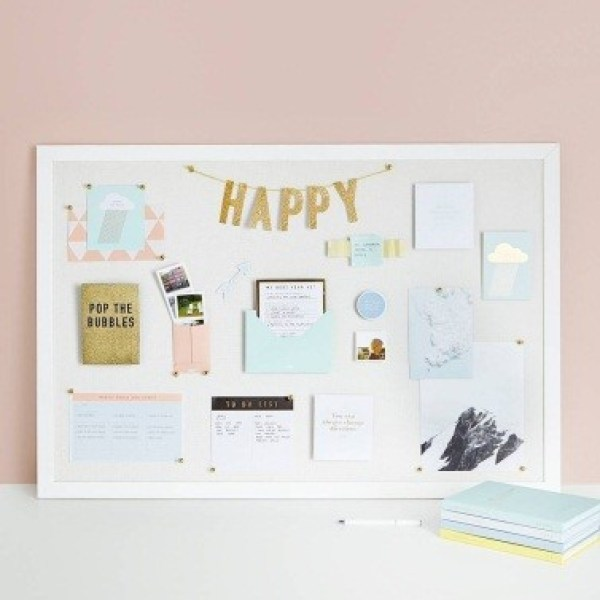 "There are a lot of things would be going on your bulletin board. Having it in all white would be very helpful for your workflow. Make sure you are pinning the notes up on the board neatly. In order to set up the mood, you may want to hang a word like ""HAPPY"". Conclusion After all, those 28 creative cork board ideas are so inspirational. You can easily apply it in any room. According to the purpose of cork board in that room, you can decide the design you can have in it."