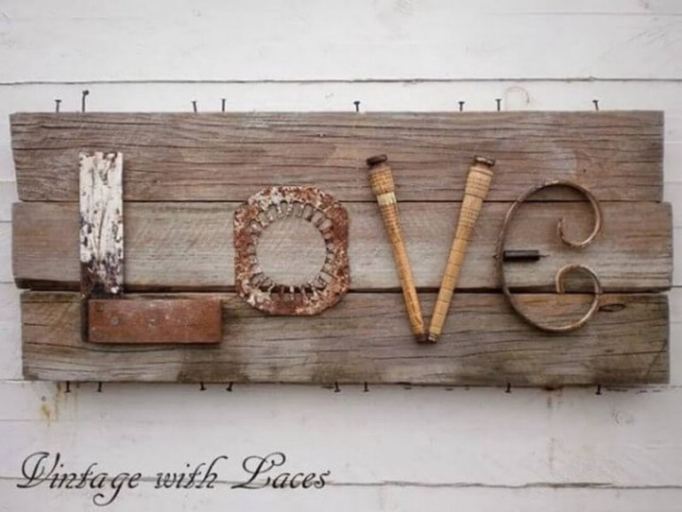 Love Wall Art with Reclaimed Wood
