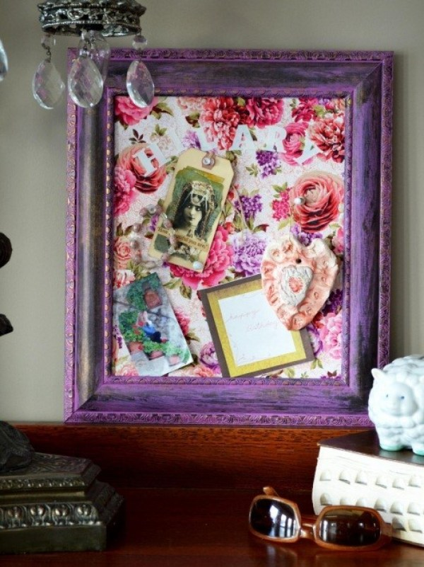 Purple-framed Cork Board Ideas