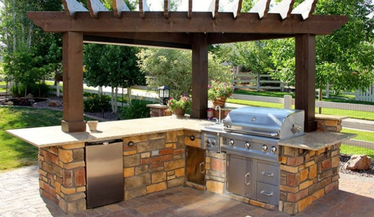 outdoor kitchen designs with fireplace