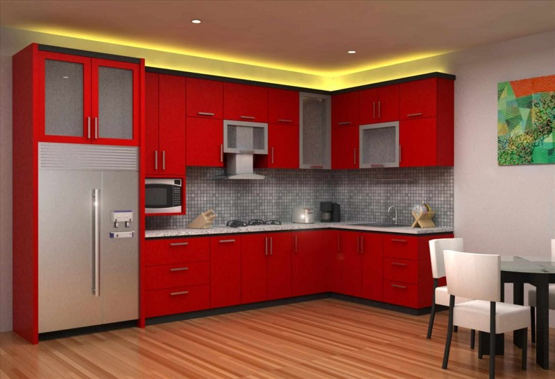 Ideas For A Red Kitchen Part - 31: Rich Red Kitchen Cabinetry