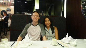 Looking hungry and excited for our first official meal in Hong Kong together!