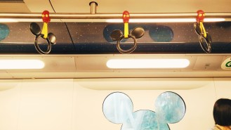 Details inside the Disney-themed MTR train.