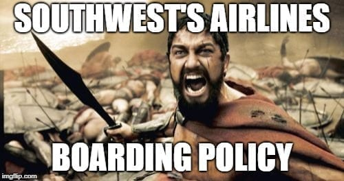 Business Travel Memes -Southwest Airlines Boarding Policy