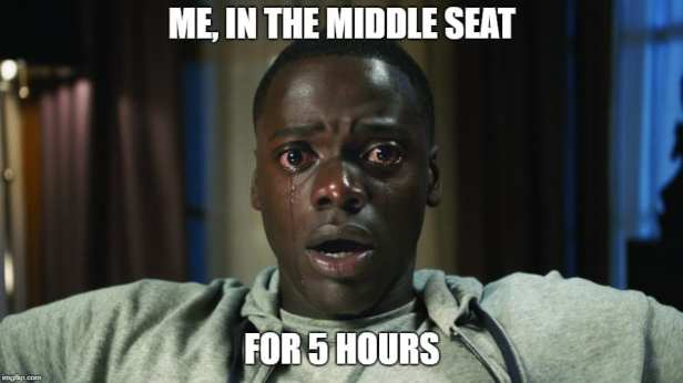 Middle Seat Problems From the Best of the Business Travel Memes Collection by CBoardingGroup.com