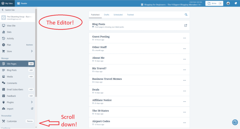 WordPress Editor - from the Starting a Blog Guide for the Beginning Blogger